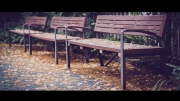 Hàng ghế đá xanh tàng cây góc sân trường